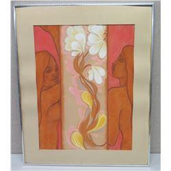 "Framed Original Pastel Painting: ""At Last Their Bonds Were Broken…"" Signed 26x32"