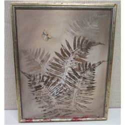 Framed Art on Canvas: Fern Leaves w/ Butterfly, Signed Charles Armour Robinson 17x22