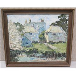"Large Framed Original Painting on Canvas 27x23, Signed, Caption on Back: ""Old Shireoaks Hall, Joseph"