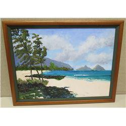Framed Original Painting: Lanikai Beach, 27x21, Signed Dutchie 4/03