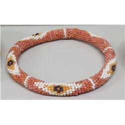 Shell Haku Lei, Pink with White/Yellow/Black Accents