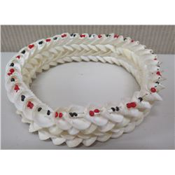 Layered White Shell Haku Head Lei w/Red & Black Shell Accents