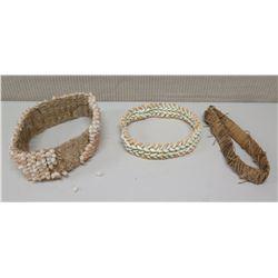 Qty 2 Shell Woven Haku Head Lei and Band
