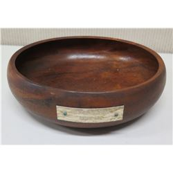 "Round Wooden Bowl w/ Plaque ""English Pleasure Under 15.2"", Approx. 9.5"" Dia, 3""H"