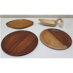 Wooden Duck Bowl & 3 Misc. Wooden Trays
