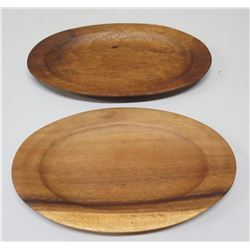 Qty 2 Oval Wooden Trays, Signed and Marked AKKK