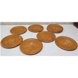 "Qty 10 Round Wooden Plates, 10"" Dia. (has scratches)"