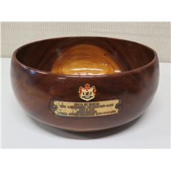 "Round Wooden Bowl w/ Enameled Coat of Arms & Plaque ""King Kamehameha Celebration 2005 - Oahu…Abigail"