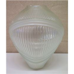 "Tapered Glass Vase with Frosted Glass Overlay, 15"" Tall"