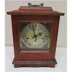 Martin & MacArthur Wooden Mantle Clock w/ Glass Door, Key & Handle