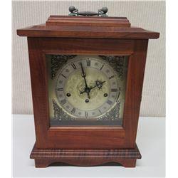Martin & MacArthur Wooden Mantle Clock w/ Glass Door, Key & Handle