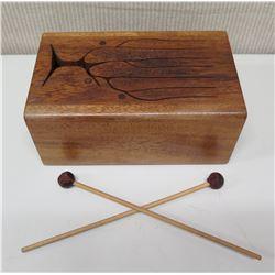 Koa Wood Drum Box w/ Tree Cut-Out Design & 2 Drumsticks