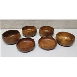 Qty 6 Misc. Round Monkey Pod Wood Bowls - 1 w/ Scalloped Edges