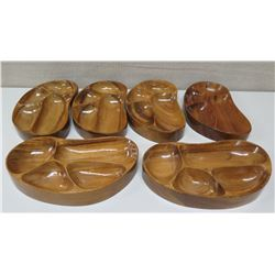 """Qty 4 Kidney Shaped Sectioned Serving Trays, Marked """"AKKK"""""""