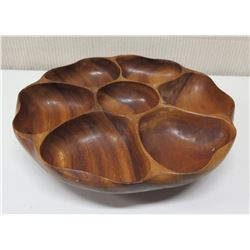 "Large Round Carved Wood 7-Section Tray w/ Base, Approx 14"" Dia, 3.5""H"