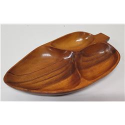 "Leaf-Shaped Wooden 3-Section Tray 12"" L, ""King Kalakaua Jubilee 1886-1986"" Stamped Underneat"