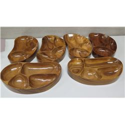 """Qty 6 Kidney-Shaped Sectioned Serving Trays, Marked """"AKKK"""""""