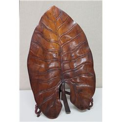 """Large Carved Wooden Taro Leaf with  Stand, Approx. 25"""" Tall"""