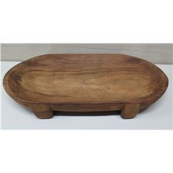 """Large Footed Carved Wooden Tray, Approx. 31""""L, 17""""W, 4""""H"""