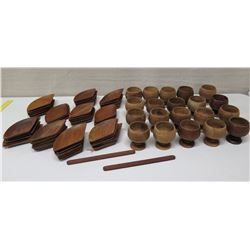 Wooden Serveware: qty 20 Footed Bowls, Approx 42 Plates