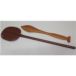 2 Replica Ceremonial Wood Paddles