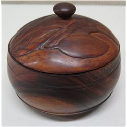 """Round, Carved, Lidded Wooden Bowl with Initials Underneath, Approx. 5"""" Dia, 4.5""""H"""