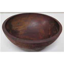 """Round Wooden Bowl w/ Carved Details, Approx. 9""""Dia, 3""""H"""