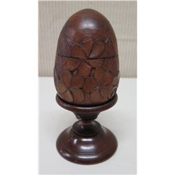 "Round Carved Decorative Egg on Pedestal Base, Plumeria Motif, Approx. 7""H"