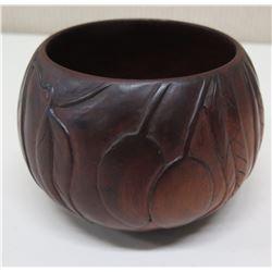 "Round Carved Milo Wood Bowl, Mango Motif, Approx. 4.5"" Dia, 4.25""H"