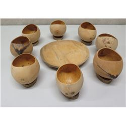 Qty 8 Oval Coconut Footed Bowls w/ Carved Woodedn Base & Wooden Plate