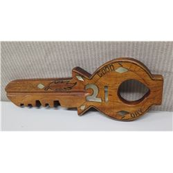 """Large Carved Wooden Key """"Good Luck, Birth Day"""", Inscribed on Back """"Aitutak Cook Island 1986"""" Approx."""