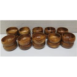 """Qty 20 Round Small Wooden Bowls w/ Maker's Mark, Approx. 5"""" Dia."""
