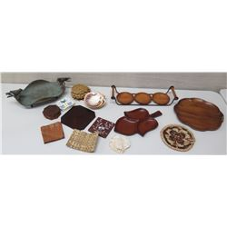 Misc. Lauhala Coasters, Trivets, Metal Tray w/ Bird Motif, Wooden Trays, etc