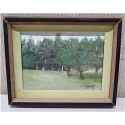 """Framed Original Painting - House and Trees, Signed Jean S.L. 9.5"""" x 8"""""""