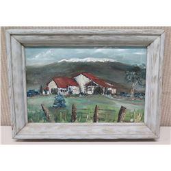"Framed Original Painting - ""Old Slaughterhouse, Waimea"", Signed, Artist Bobi Moreno , 14.5"" x 11"""