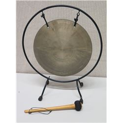 """Round Metal Gong in Stand w/ Wood Mallet, Approx. 16"""" Tall"""