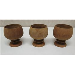 Qty 3 Wooden Footed Bowls