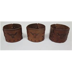Qty 3 Leather Cold Beverage Holders w/ Branded Steer Accents