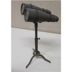 Vintage Binoculars on Metal Tripod Stand