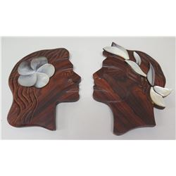 """Man & Woman Carved Face Profiles w/ Mother of Pearl Accents, Approx. 12"""" H"""