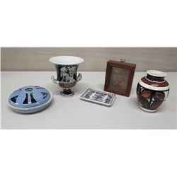 Qty 5 Décor Items - Glazed Hawaiian Vase, Greco-Roman Footed Vase & Trinket Tray, Framed Leaves, etc