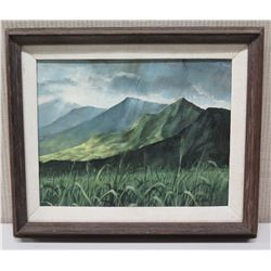 Framed Original Painting - Mountainscape, Signed by Artist R. Hewetson 17x15