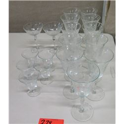 Approx. Qty 11 Glass Stemware, Various Sizes