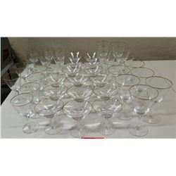 Approx. Qty 35 Stemmed Glasses w/ Gold-Tone Rim