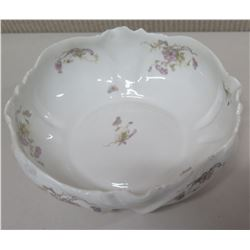 Limoges France Round Floral Porcelain Bowl w/ Scalloped Edges