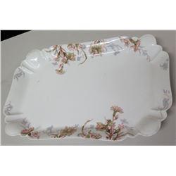"Limoges 'For Hawaiian Hardware Co., Honolulu' Floral Porcelain Serving Platter, Approx. 16.5""x 10.5"""