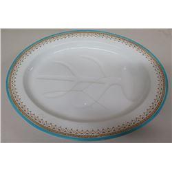 Large Royal Worchester Fine China Blue-Rimmed Oval Serving Platter (Damaged)