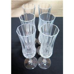 Qty 6 Crystal Stemmed Champagne Flutes