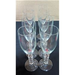 Qty 6 Glass Stemmed Champage Glasses