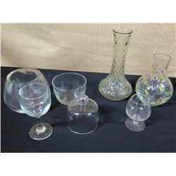 Misc. Glass Vases and Stemmed Beverage Glasses